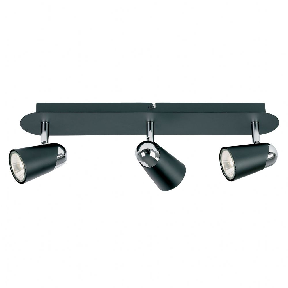 3 Light Spot Bar Black Painted/Chrome Plated & Lamps EL-10054